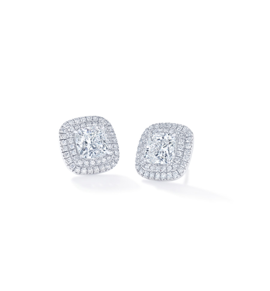 Forevermark The Center Of My UniverseTM Double Halo Stud Earrings With Round Brilliant Forevermark Diamonds Set In 18K White Gold 900X972