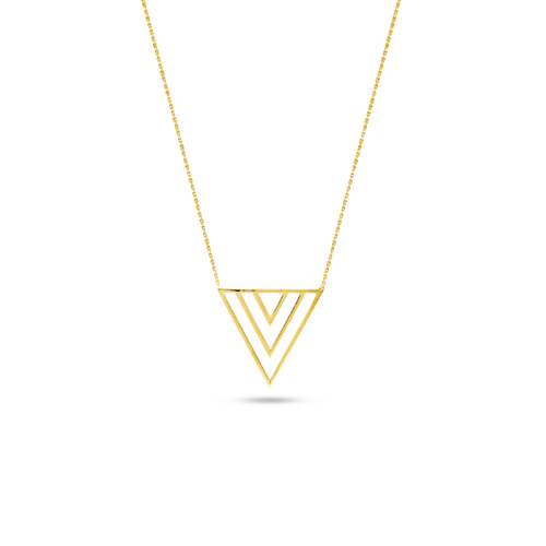 Yellow gold modern triangle pendant necklace