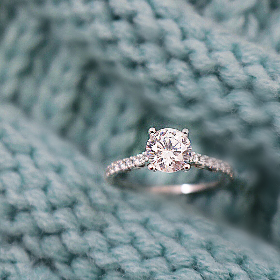 Dainty Band Diamond Engagement Ring